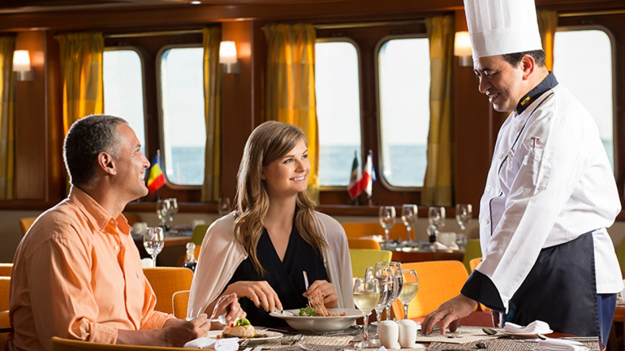 Dining on Santa Cruz 2 ship