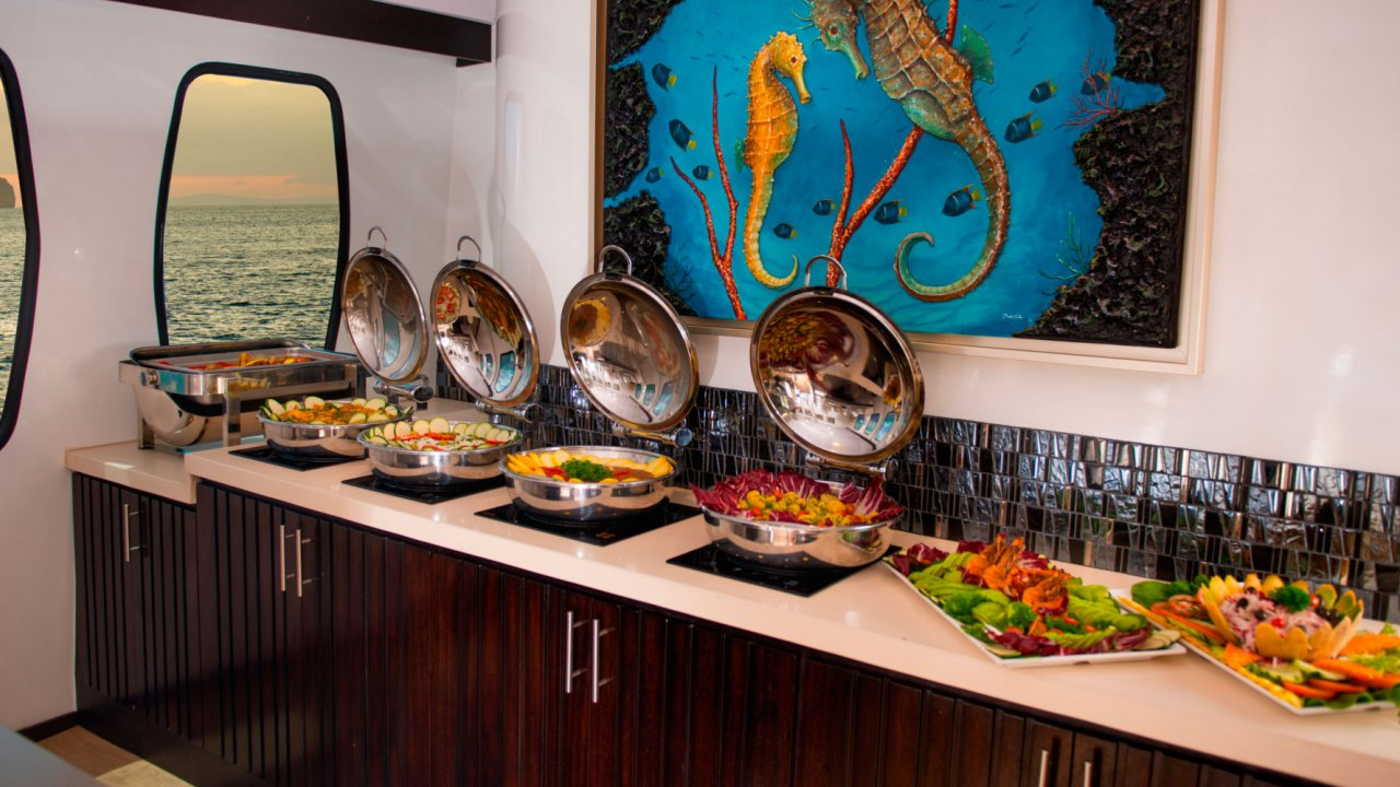 Buffet on Alya catamaran