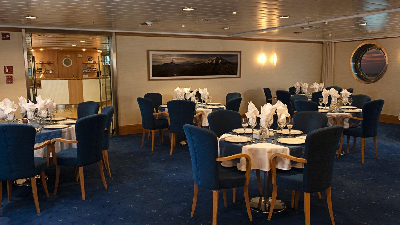 dining room on la pinta yacht