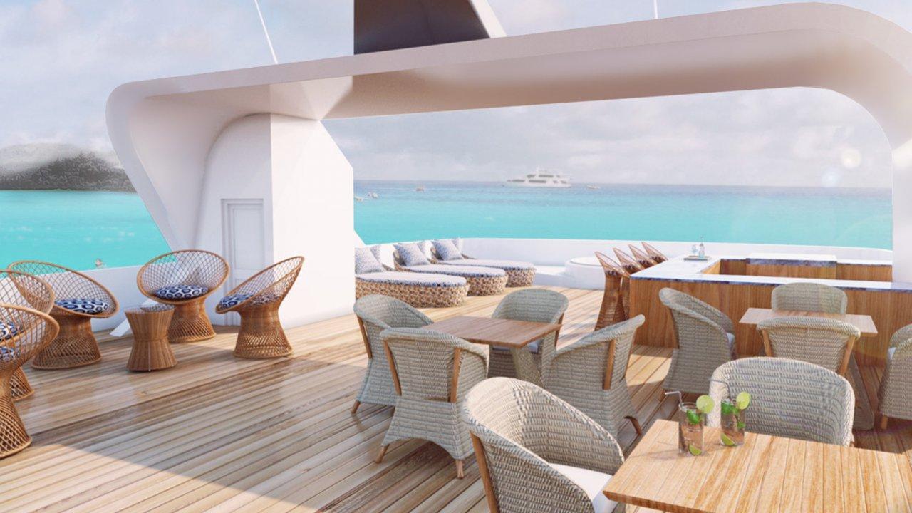 Common area on MV Theory Cruise Ship