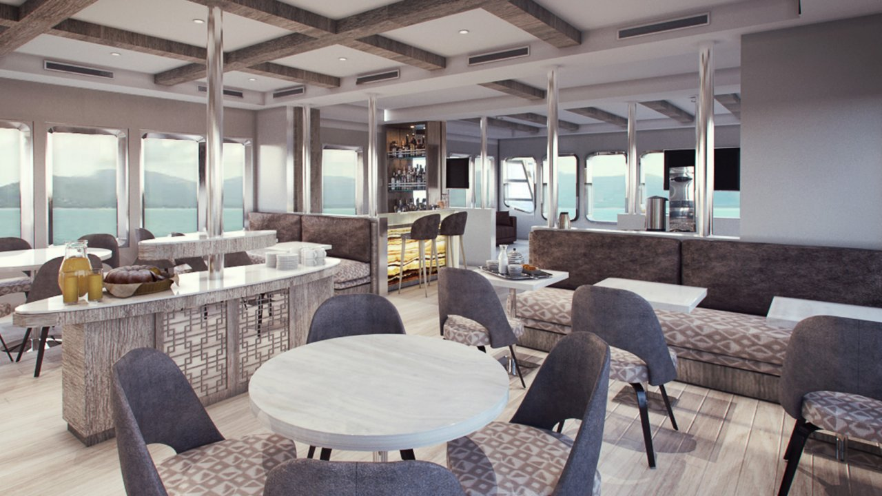 Dining and Bar area on MV Theory