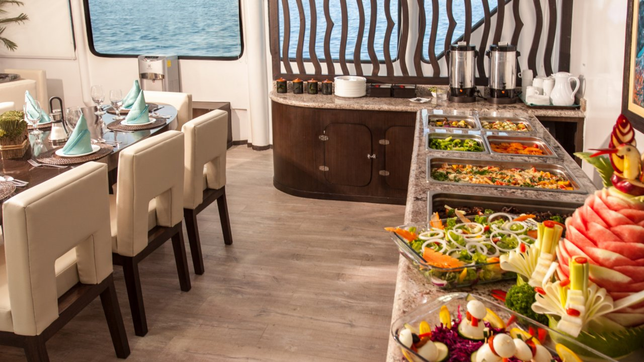 buffet on galaxy catamaran