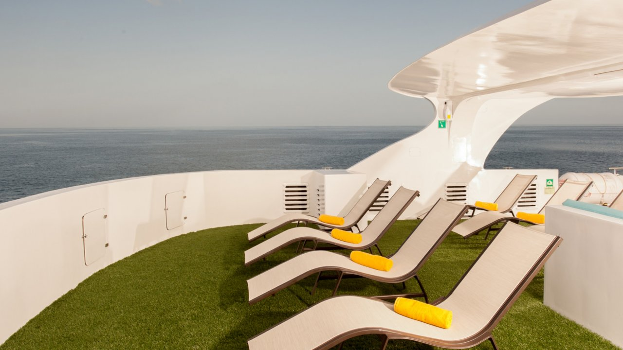 lounge chairs on galapagos catamaran