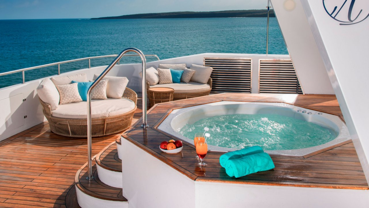 Jacuzzi on deck of catamaran