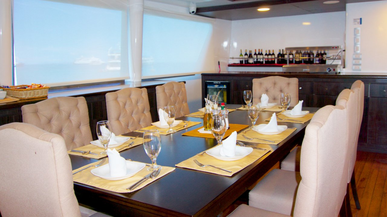 dining room on galapagos catamaran