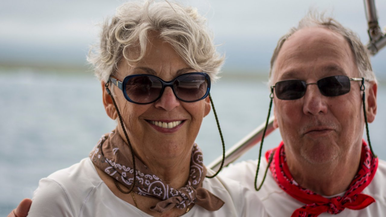Couple enjoying Galapagos luxury cruise