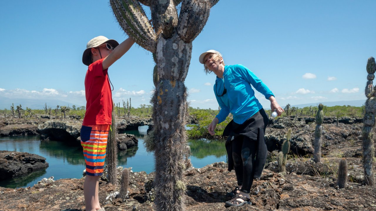 Family exploring the galapagos