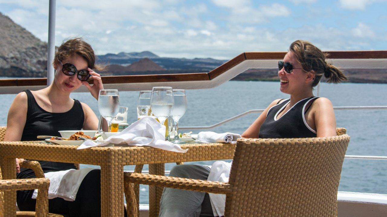 women visiting on galapagos cruise