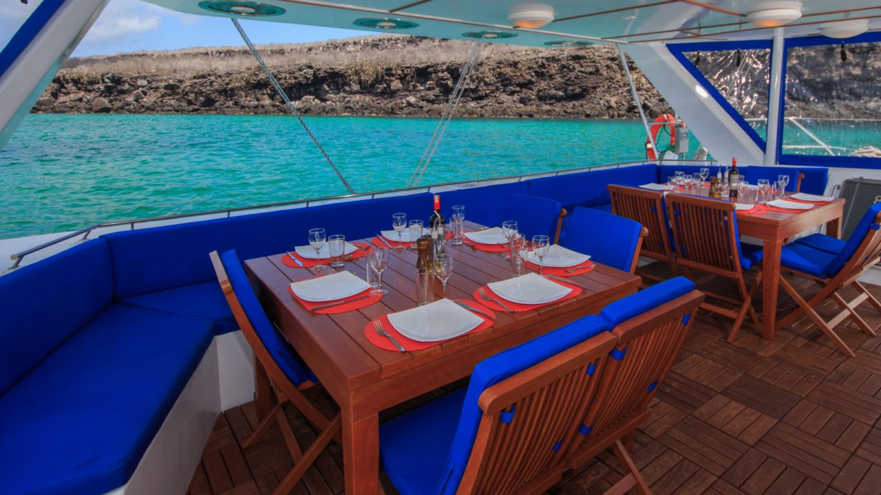dining tables on sailing catamaran